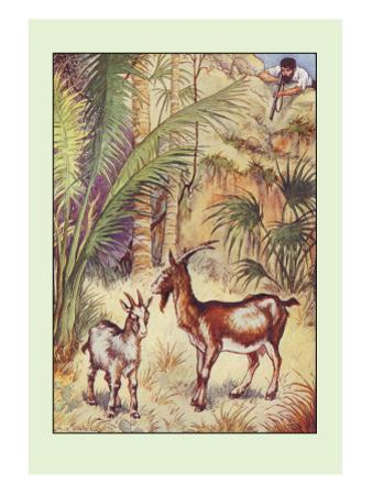 Robinson Crusoe: Having No Victuals to Eat, I Killed a She-Goat