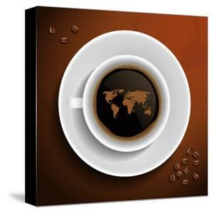 World Map In Coffee Cup by MiloArt
