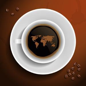 World Map In Coffee Cup by MiloArt