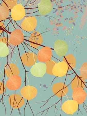 Aspen Tree Branch with Autumn Leaves by Milovelen