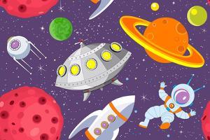 Cartoon Space Seamless Background by Milovelen