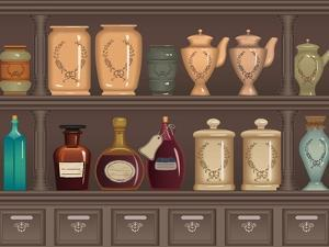 Vintage Bottles and Jars in the Pharmacy Cabinet by Milovelen