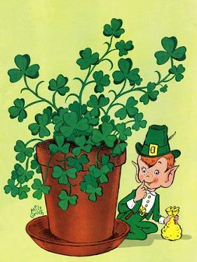 Leprechaun and Clover - Jack & Jill by Milt Groth
