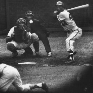 Milwaukee Braves Henry Aaron Batting During Baseball Game