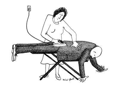 A woman is ironing her husband's suit on an ironing board; he's still wear? - New Yorker Cartoon