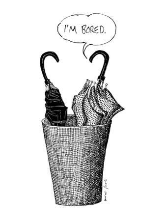 One umbrella, next to another in an umbrella stand, says 'I'm bored.' - New Yorker Cartoon