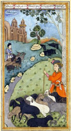 Miniature from Yusuf and Zalikha (Legend of Joseph and Potiphar's Wif) by Jami, Ca 1683-1685