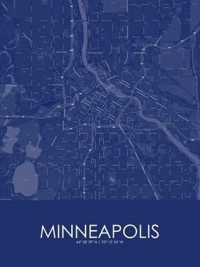 Minneapolis, United States of America Blue Map