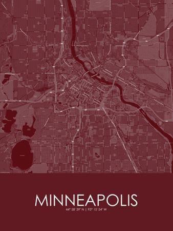 Minneapolis, United States of America Red Map