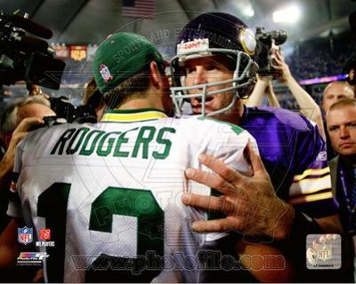 Minnesota Vikings, Green Bay Packers - Brett Favre, Aaron Rodgers Photo