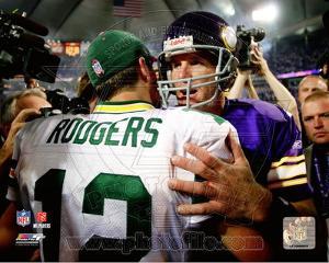 Minnesota Vikings, Green Bay Packers - Brett Favre, Aaron Rodgers Photo