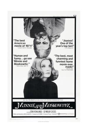 MINNIE AND MOSKOWITZ, US poster, from top: Seymour Cassel, Gena Rowlands, 1971