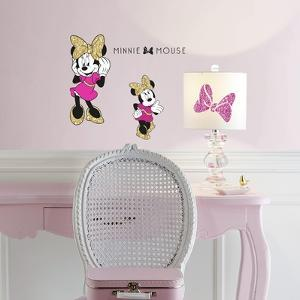 Minnie Mouse Peel and Stick Wall Decals with Glitter