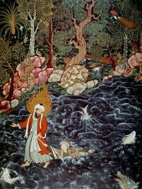 The Prophet Elijah Rescuing Prince Nur Ad-Dahr (From the Hamzanam), 1562-1577 by Mir Sayyid Ali