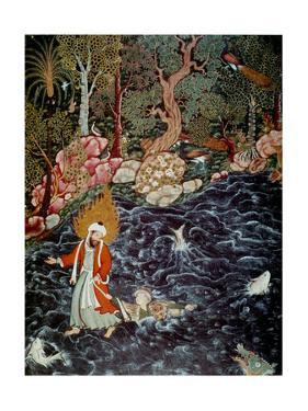 The Prophet Elijah Rescuing Prince Nur Ad-Dahr (From the Hamzanam), 1562-1577 by Mir Sayyid Ali