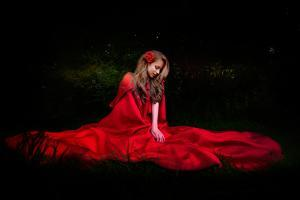 Beautiful Woman with Red Cloak in the Woods by Night by mirceab