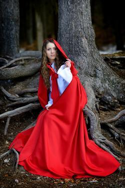 Beautiful Woman with Red Cloak Posing in the Woods by mirceab