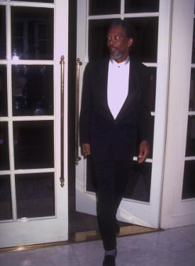 Actor Morgan Freeman Standing Near Doorway at Rita Moreno Tribute Held at Beverly Wilshire Hotel by Mirek Towski
