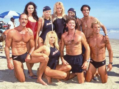 Cast of Syndicated Tv Series Baywatch Filming an Episode in Huntington Beach, Ca