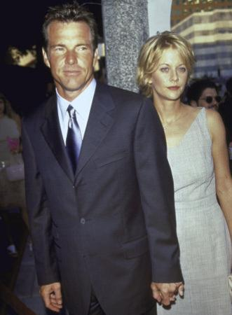 "Married Actors Dennis Quaid and Meg Ryan at Film Premiere of His ""The Parent Trap"" by Mirek Towski"