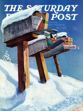 """""""Mailboxes in Snow,"""" Saturday Evening Post Cover, December 27, 1941 by Miriam Tana Hoban"""