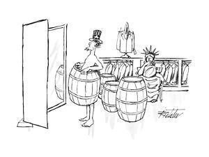 Uncle Sam tries on a barrel in a men's clothing store, as the Statue of Li? - New Yorker Cartoon by Mischa Richter
