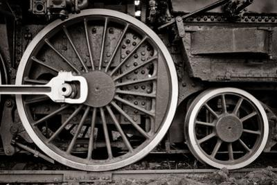 Steam Locomotive Wheel Detail In Warm Black And White by mishoo