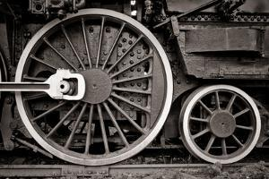 Steam Locomotive Wheel Detail In Warm Black And White by mishoo