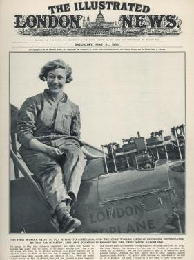 Miss Amy Johnson Overhauling Her Gypsy Moth Aeroplane after Landing in Australia