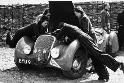 Miss Md Patten Looking at the Engine of a 1938 Peugeot 402 Special Sport, Rac Rally, 1939
