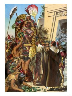 Missionary Father Valverde Addresses the Inca King Atahualpa during the Conquest of Peru, c.1532