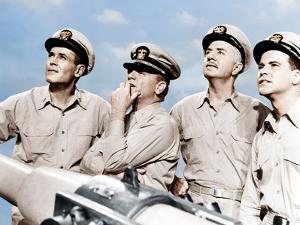 MISTER ROBERTS, from left: Henry Fonda, James Cagney, William Powell, Jack Lemmon, 1955