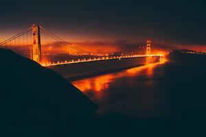 Misty Red Scene at Golden Gate, San Francisco