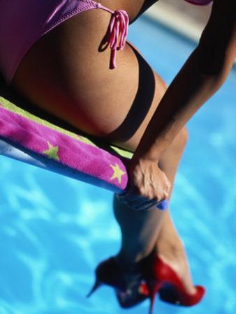 Mexican Woman in Bikini by Swimming Pool