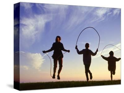 Silhouette of Children Jumping Rope Outdoors by Mitch Diamond