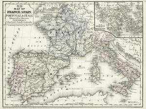 Mitchell's Map of France, Spain & Italy