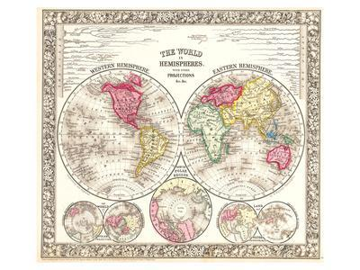 World in Hemispheres 1864
