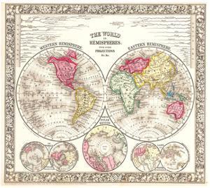 World in Hemispheres 1864 by Mitchell