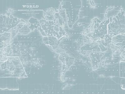 World Map on Aqua