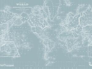 World Map on Aqua by Mitchell