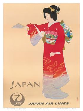 Japan Air Lines, Geisha c.1950's by Mitsumura