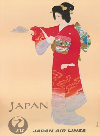 Japan Air Lines, Geisha c.1950's by Mitsumura