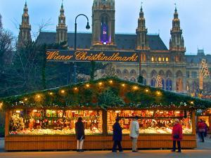 Christmas Market on the Town Hall Square, Vienna, Austria by Miva Stock