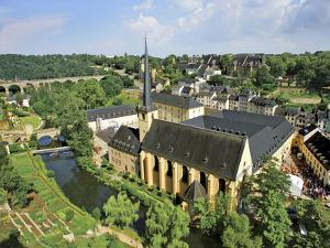 City View of St. Johanneskirche and Abbey Neumuenster, Grund, Luxemburg, Luxembourg by Miva Stock