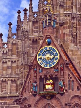Clock Tower of Church of Our Lady, Nuremberg, Germany by Miva Stock