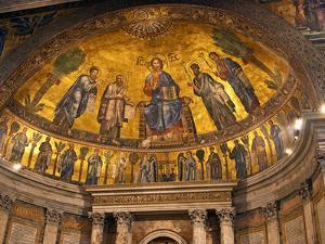 Detail of Apse Mosaic with Portraits of Popes, Basilica Di San Paolo Fuori Le Mura, Rome, Italy by Miva Stock