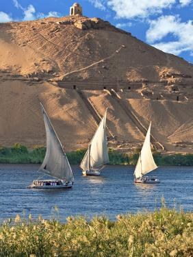 Felucca Sailboats, Temple Ruins and the Large Sand Dunes of the Sahara Desert, Aswan, Egypt by Miva Stock