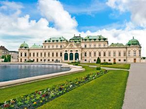 Front Facade of Schloss Schonbrunn Palace, Vienna, Wein, Austria by Miva Stock