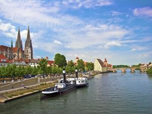 Old Town Skyline with St. Peter's Cathedral and Danube River, Regensburg, Germany by Miva Stock