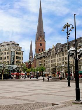 Rathaus Market Platz Square and St Petrikirche, St. Peter Church, Historic Center, Hamburg, Germany by Miva Stock